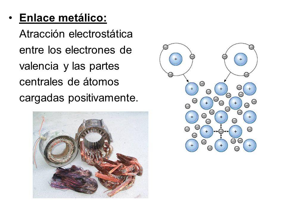 Enlace metálico: Atracción electrostática entre los electrones de valencia y las partes centrales de átomos cargadas positivamente.