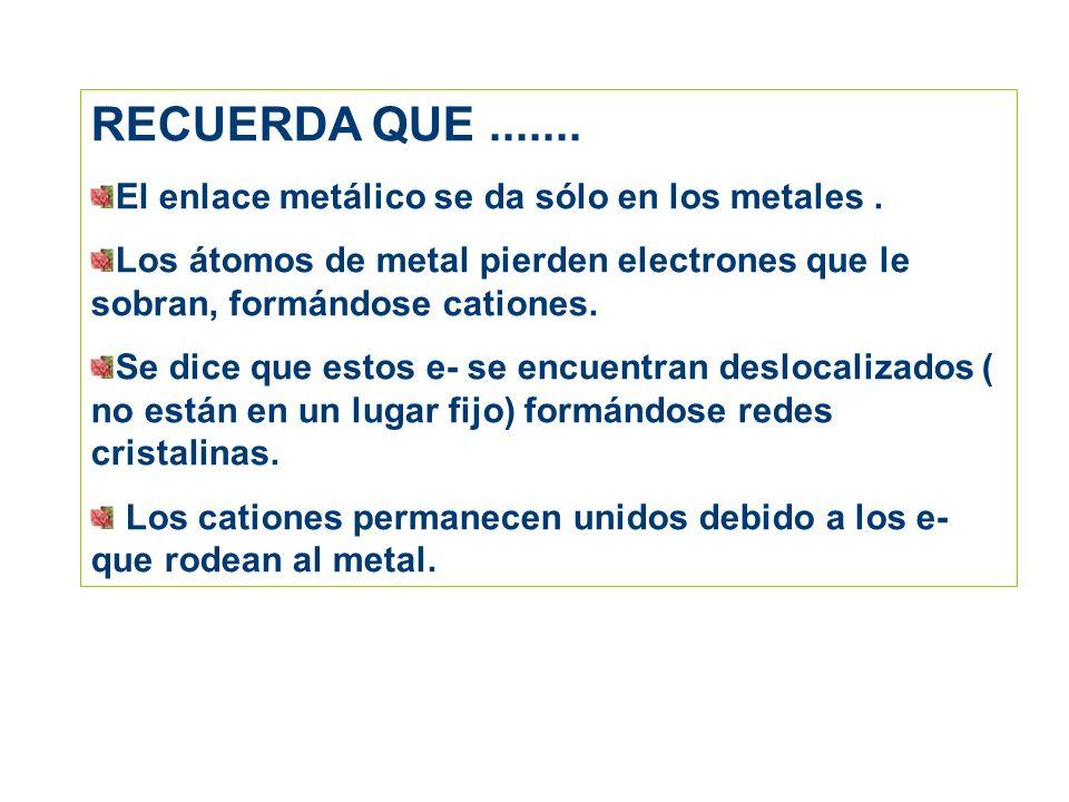 RECUERDA QUE....... El enlace metálico se da sólo en los metales. Los átomos de metal pierden electrones que le sobran, formándose cationes. Se dice q