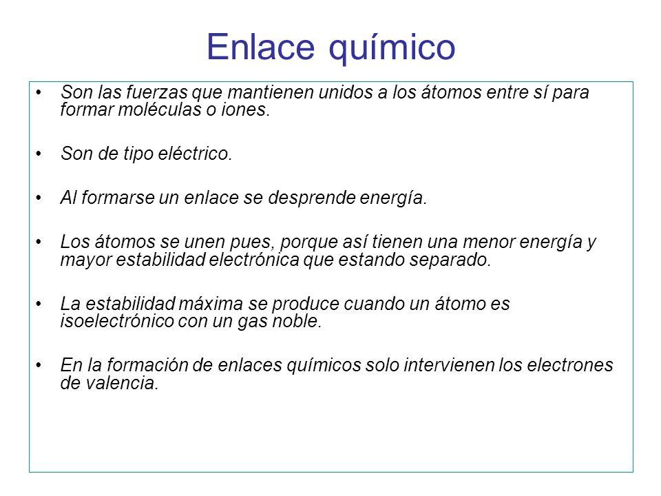 Enlace químico Son las fuerzas que mantienen unidos a los átomos entre sí para formar moléculas o iones. Son de tipo eléctrico. Al formarse un enlace