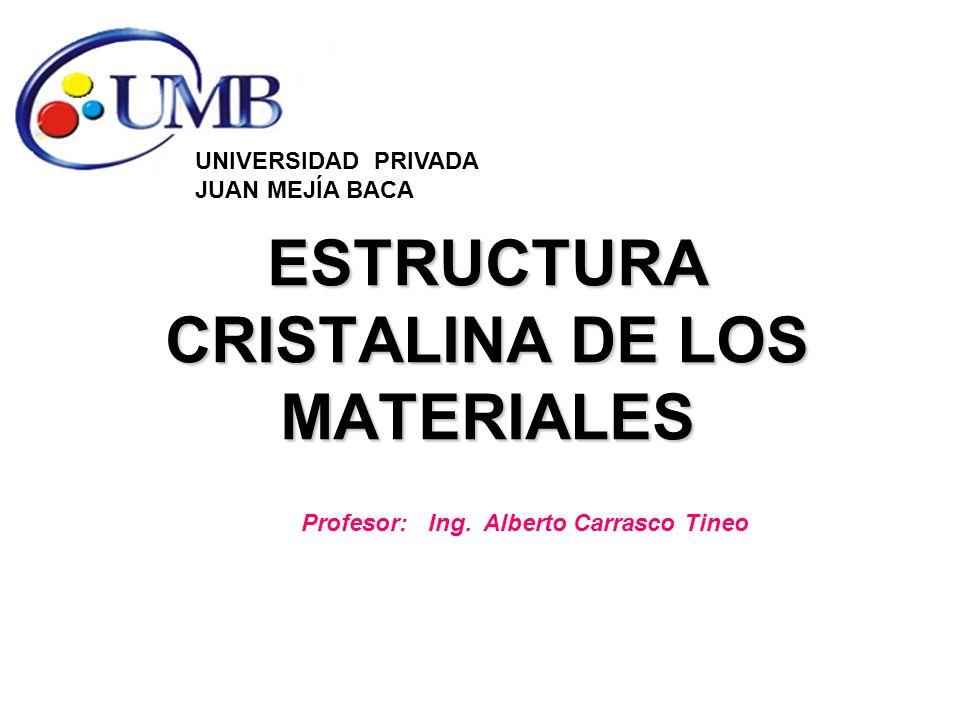 ESTRUCTURA CRISTALINA DE LOS MATERIALES UNIVERSIDAD PRIVADA JUAN MEJÍA BACA Profesor: Ing. Alberto Carrasco Tineo