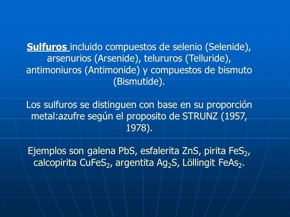 Sulfuros incluido compuestos de selenio (Selenide), arsenurios (Arsenide), telururos (Telluride), antimoniuros (Antimonide) y compuestos de bismuto (B