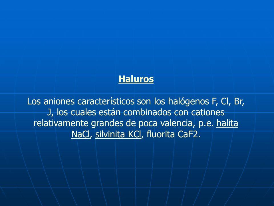 Haluros Los aniones característicos son los halógenos F, Cl, Br, J, los cuales están combinados con cationes relativamente grandes de poca valencia, p