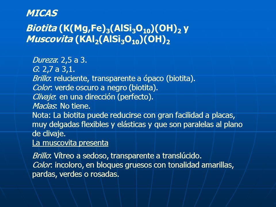 MICAS Biotita (K(Mg,Fe) 3 (AlSi 3 O 10 )(OH) 2 y Muscovita (KAl 2 (AlSi 3 O 10 )(OH) 2 Dureza: 2,5 a 3. G: 2,7 a 3,1. Brillo: reluciente, transparente