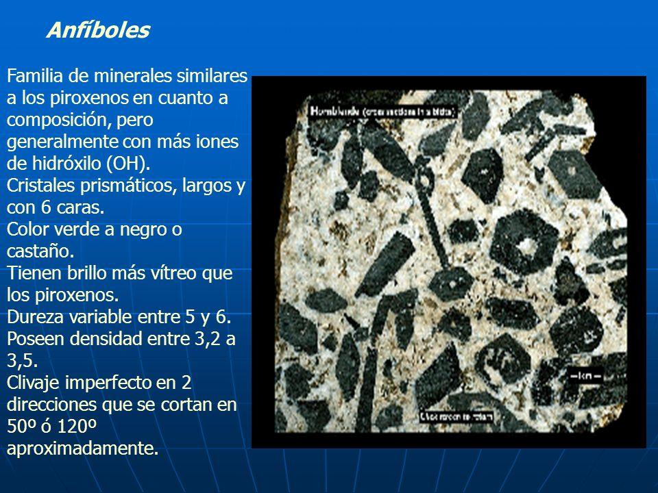 Anfíboles Familia de minerales similares a los piroxenos en cuanto a composición, pero generalmente con más iones de hidróxilo (OH). Cristales prismát