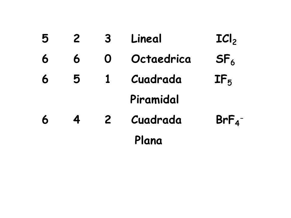 5 2 3 Lineal ICl 2 6 6 0 Octaedrica SF 6 6 5 1 Cuadrada IF 5 Piramidal 6 4 2 Cuadrada BrF 4 - Plana