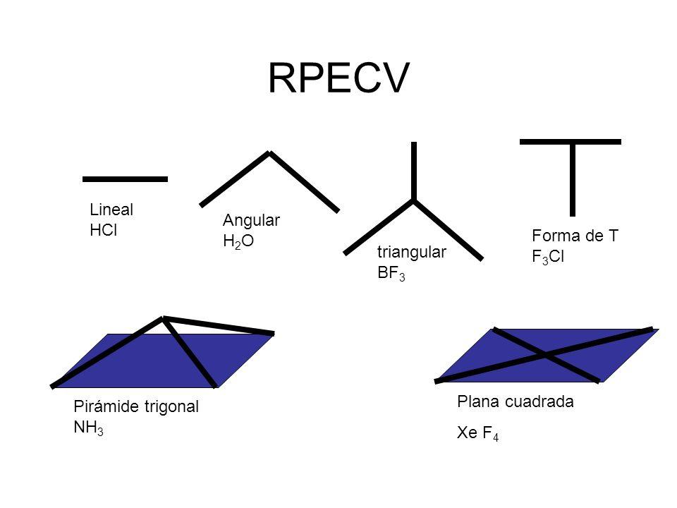 RPECV Lineal HCl Angular H 2 O triangular BF 3 Forma de T F 3 Cl Plana cuadrada Xe F 4 Pirámide trigonal NH 3