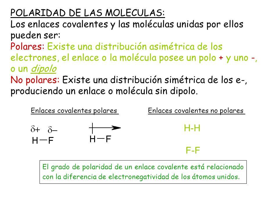 POLARIDAD DE LAS MOLECULAS: Los enlaces covalentes y las moléculas unidas por ellos pueden ser: Polares: Existe una distribución asimétrica de los ele