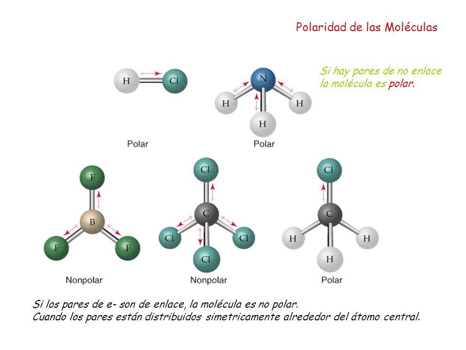 Polaridad de las Moléculas Si hay pares de no enlace la molécula es polar. Si los pares de e- son de enlace, la molécula es no polar. Cuando los pares