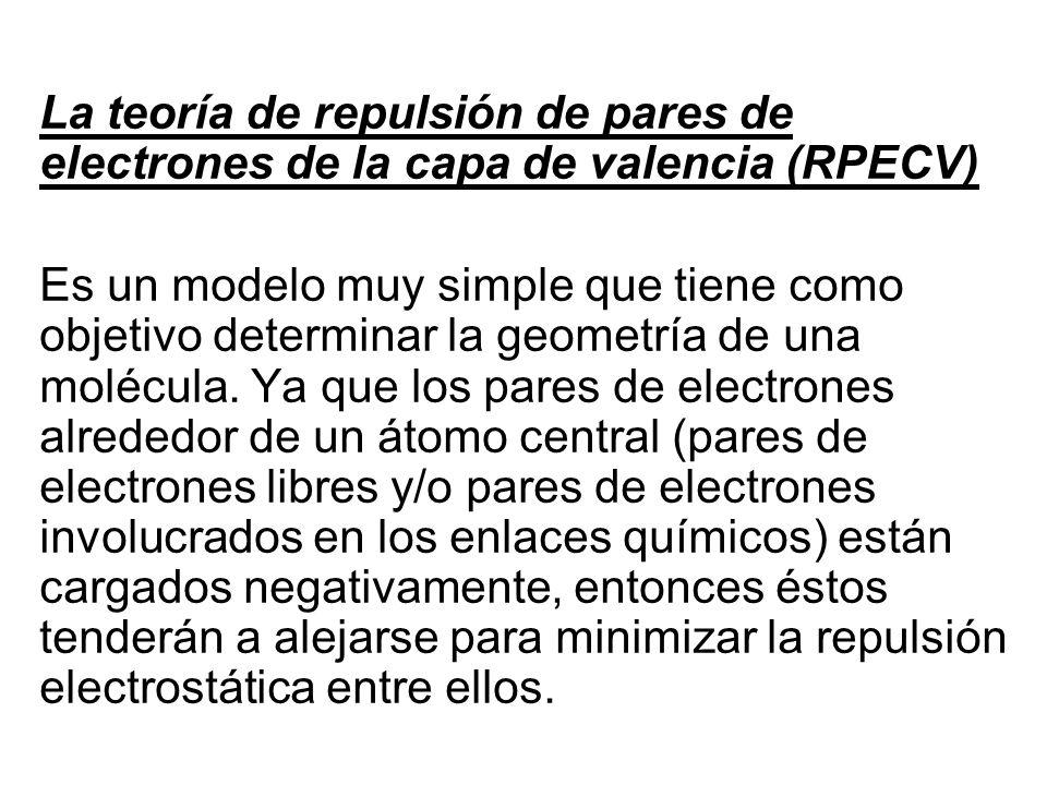 La teoría de repulsión de pares de electrones de la capa de valencia (RPECV) Es un modelo muy simple que tiene como objetivo determinar la geometría d