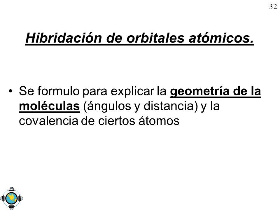 32 Hibridación de orbitales atómicos. Se formulo para explicar la geometría de la moléculas (ángulos y distancia) y la covalencia de ciertos átomos