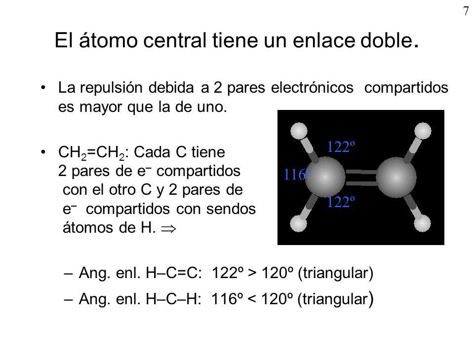 CH 4 Posteriormente 2s, 2p x, 2p y y 2p z se hibridan: 1s 2 2s 1 2p x 1 2p y 1 2p z 1 1s 2 (sp 3 ) 1 (sp 3 ) 1 (sp 3 ) 1 (sp 3 ) 1 Los electrones del orbital s de los 4 átomos de Hidrógeno se aparean con los nuevos orbitales sp 3 del átomo central Carbono