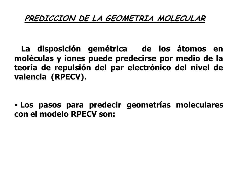PREDICCION DE LA GEOMETRIA MOLECULAR La disposición gemétrica de los átomos en moléculas y iones puede predecirse por medio de la teoría de repulsión