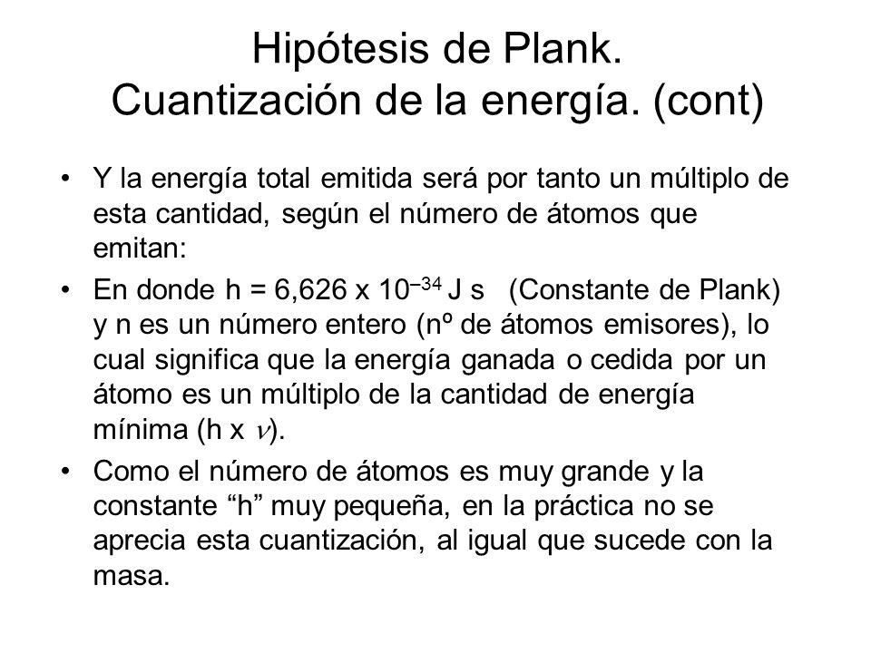 Hipótesis de Plank. Cuantización de la energía. El estudio de las rayas espectrales permitió relacionar la emisión de radiaciones de determinada con c