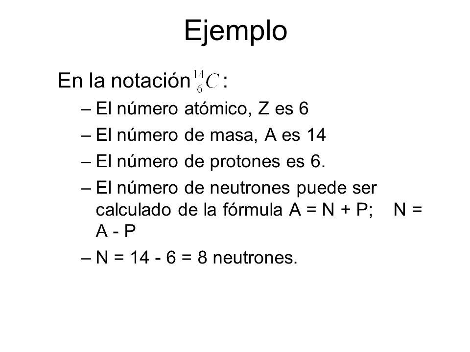 Número Atómico y Número de Masa Número Atómico identifica el átomo de un elemento. –Es igual al número de protones en el núcleo. Número de Masa es igu