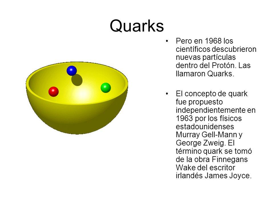 El Protón (P + ) Los científicos pensaban originalmente que no existía nada más pequeño que el Protón en el núcleo del átomo. Lo descubre E. Golstein