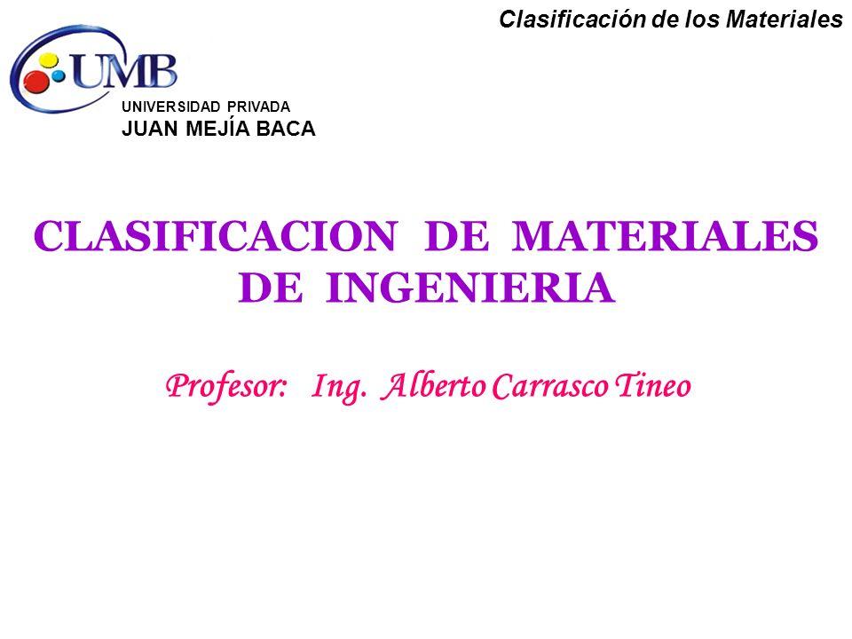 Clasificación de los Materiales CLASIFICACION DE MATERIALES DE INGENIERIA Profesor: Ing. Alberto Carrasco Tineo UNIVERSIDAD PRIVADA JUAN MEJÍA BACA
