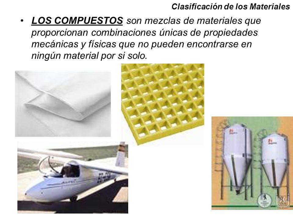 Clasificación de los Materiales LOS COMPUESTOS son mezclas de materiales que proporcionan combinaciones únicas de propiedades mecánicas y físicas que