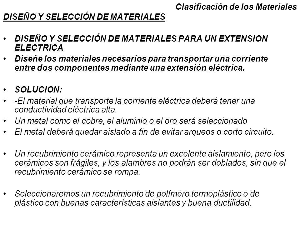 Clasificación de los Materiales DISEÑO Y SELECCIÓN DE MATERIALES DISEÑO Y SELECCIÓN DE MATERIALES PARA UN EXTENSION ELECTRICA Diseñe los materiales ne