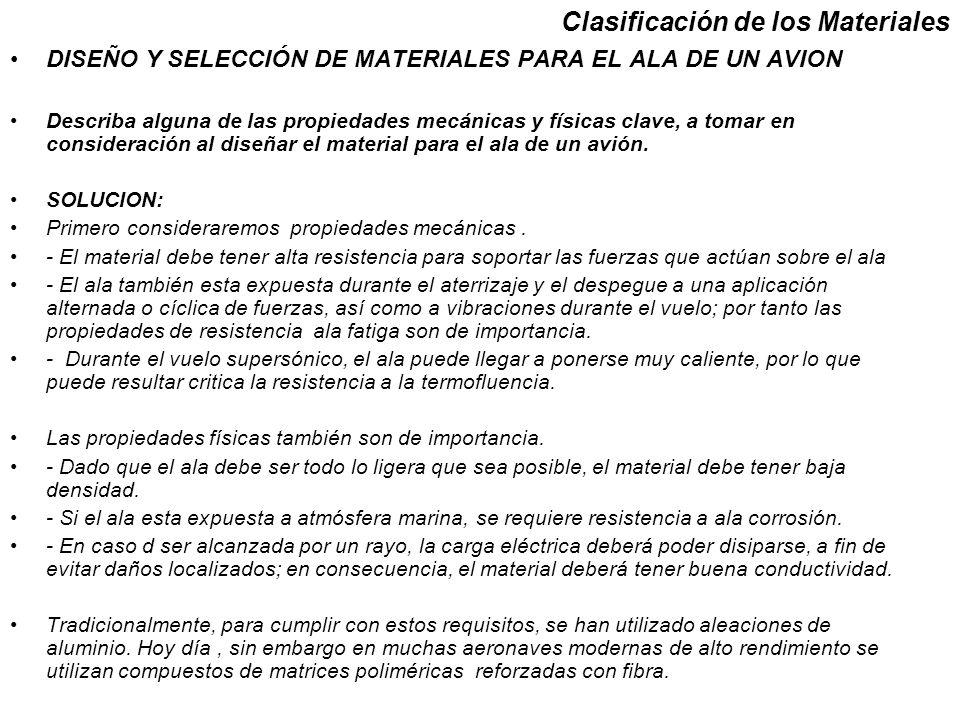 Clasificación de los Materiales DISEÑO Y SELECCIÓN DE MATERIALES PARA EL ALA DE UN AVION Describa alguna de las propiedades mecánicas y físicas clave,