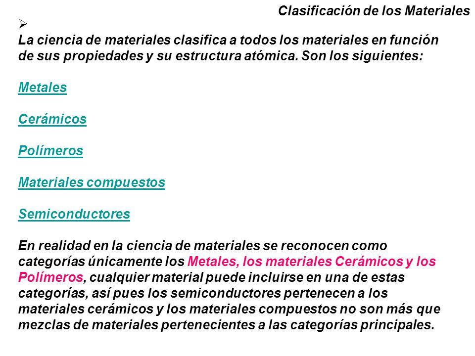 Clasificación de los Materiales La ciencia de materiales clasifica a todos los materiales en función de sus propiedades y su estructura atómica. Son l