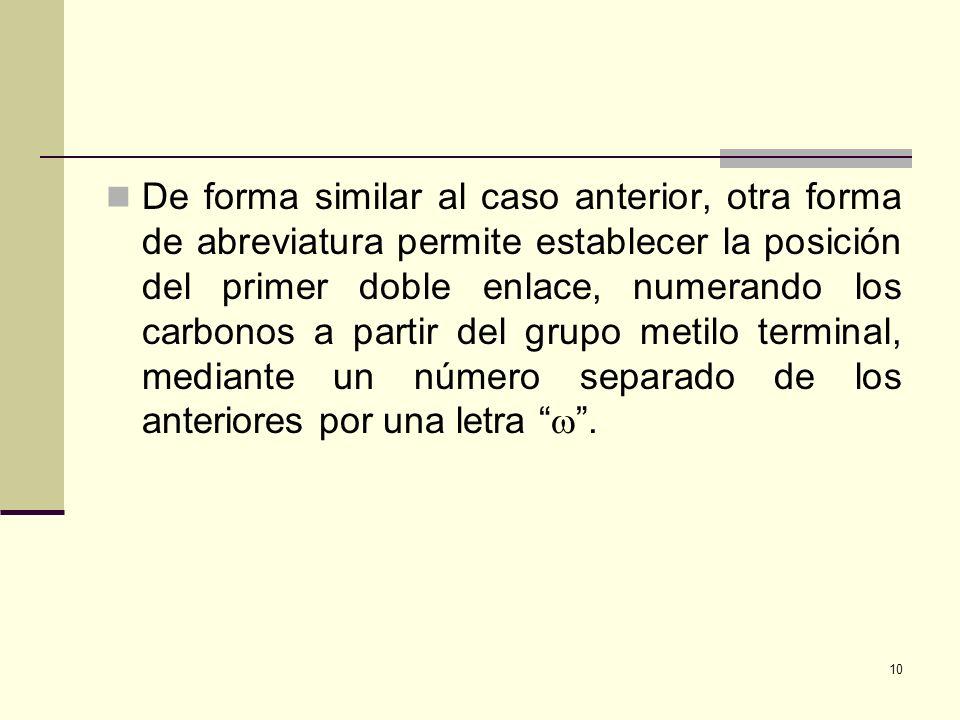 De forma similar al caso anterior, otra forma de abreviatura permite establecer la posición del primer doble enlace, numerando los carbonos a partir d