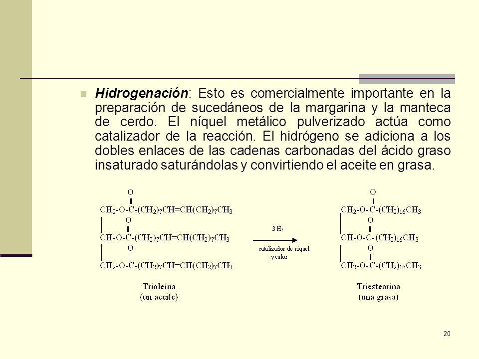 20 Hidrogenación: Esto es comercialmente importante en la preparación de sucedáneos de la margarina y la manteca de cerdo. El níquel metálico pulveriz