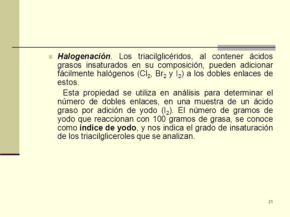 21 Halogenación. Los triacilglicéridos, al contener ácidos grasos insaturados en su composición, pueden adicionar fácilmente halógenos (Cl 2, Br 2 y I