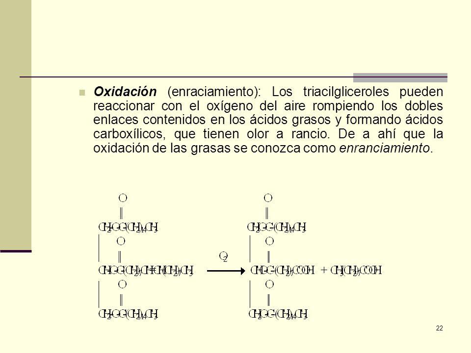 22 Oxidación (enraciamiento): Los triacilgliceroles pueden reaccionar con el oxígeno del aire rompiendo los dobles enlaces contenidos en los ácidos gr