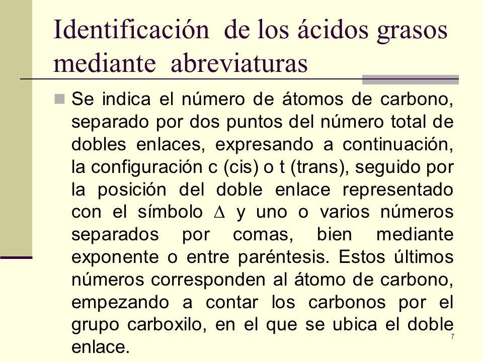 Identificación de los ácidos grasos mediante abreviaturas Se indica el número de átomos de carbono, separado por dos puntos del número total de dobles