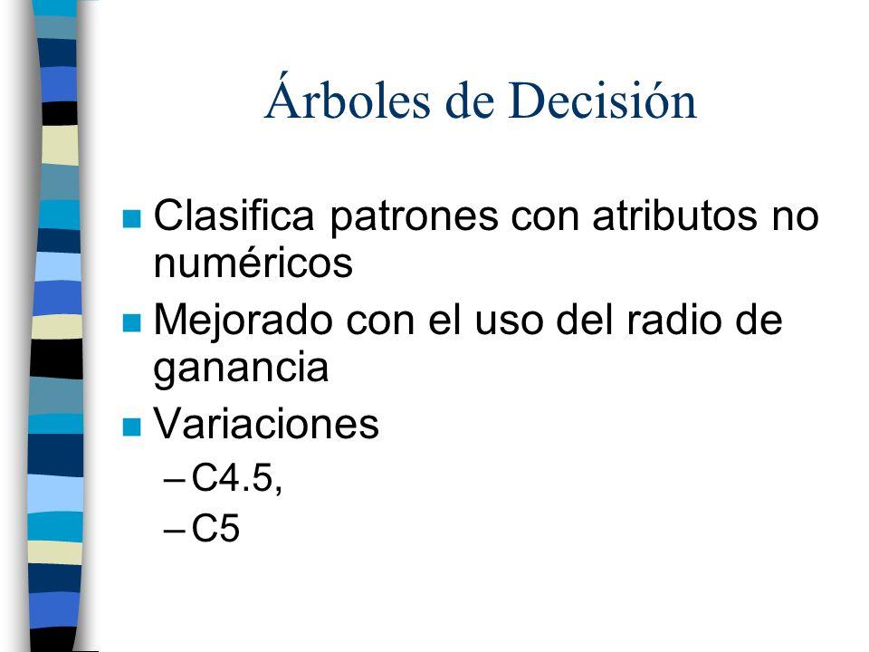 Árboles de Decisión n Clasifica patrones con atributos no numéricos n Mejorado con el uso del radio de ganancia n Variaciones –C4.5, –C5