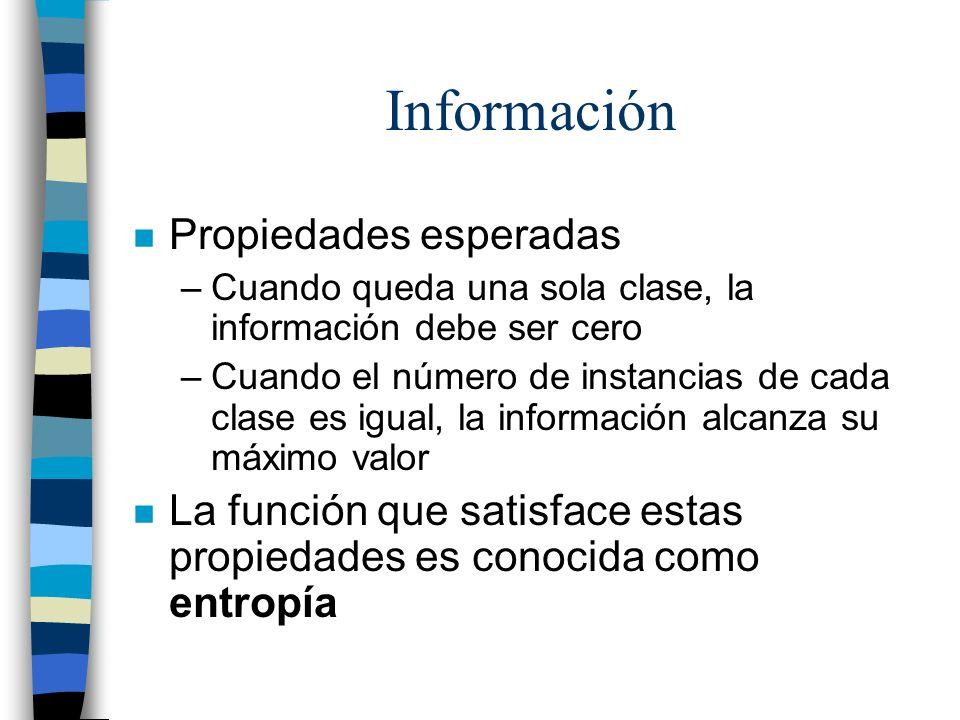 Información n Propiedades esperadas –Cuando queda una sola clase, la información debe ser cero –Cuando el número de instancias de cada clase es igual,