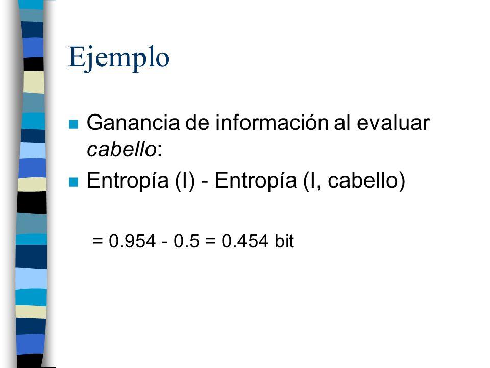 Ejemplo n Ganancia de información al evaluar cabello: n Entropía (I) - Entropía (I, cabello) = 0.954 - 0.5 = 0.454 bit
