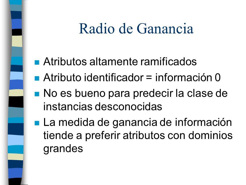 Radio de Ganancia n Atributos altamente ramificados n Atributo identificador = información 0 n No es bueno para predecir la clase de instancias descon
