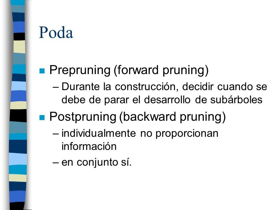 Poda n Prepruning (forward pruning) –Durante la construcción, decidir cuando se debe de parar el desarrollo de subárboles n Postpruning (backward prun