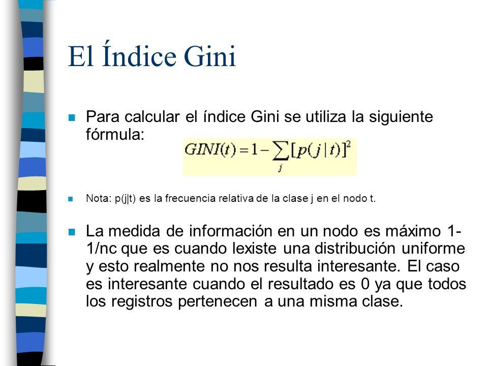 El Índice Gini n Para calcular el índice Gini se utiliza la siguiente fórmula: n Nota: p(j|t) es la frecuencia relativa de la clase j en el nodo t. n