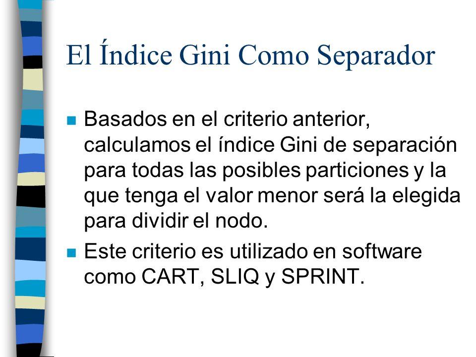 El Índice Gini Como Separador n Basados en el criterio anterior, calculamos el índice Gini de separación para todas las posibles particiones y la que