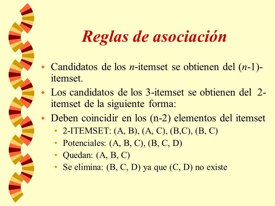 Reglas de asociación w Candidatos de los n-itemset se obtienen del (n-1)- itemset. w Los candidatos de los 3-itemset se obtienen del 2- itemset de la