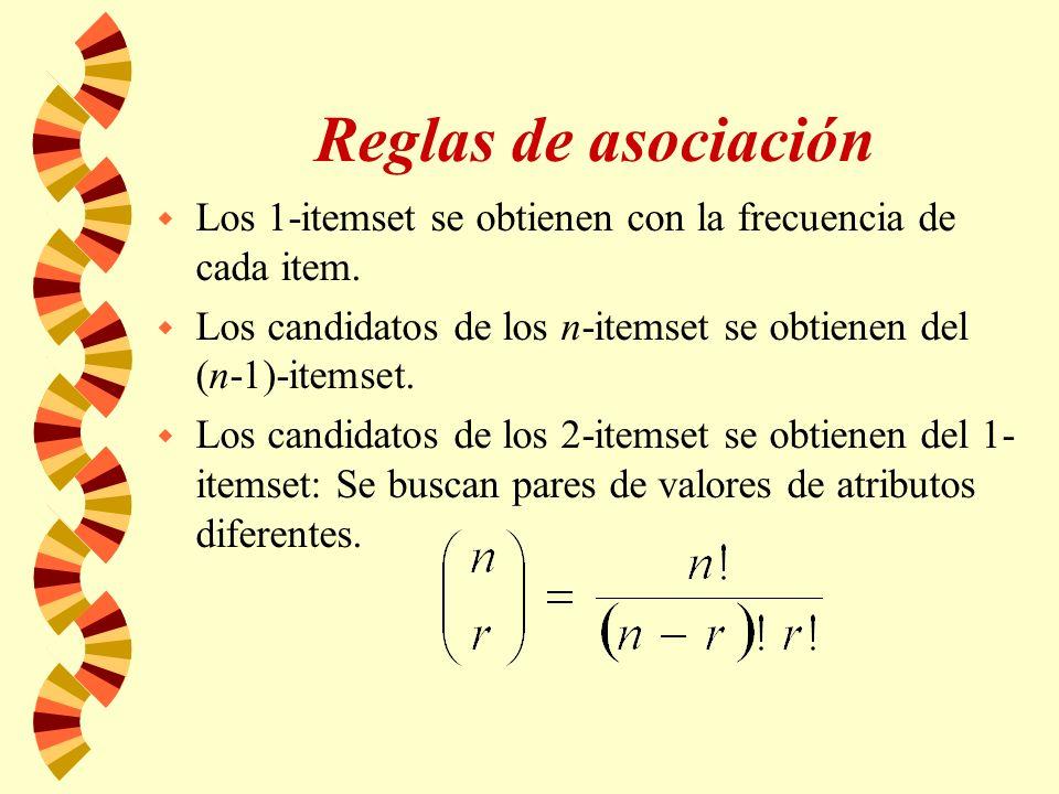 Reglas de asociación w Los 1-itemset se obtienen con la frecuencia de cada item. w Los candidatos de los n-itemset se obtienen del (n-1)-itemset. w Lo