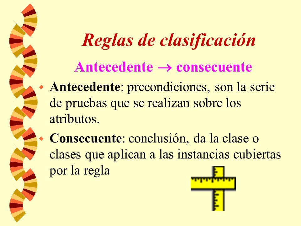 Reglas de clasificación Antecedente consecuente w Antecedente: precondiciones, son la serie de pruebas que se realizan sobre los atributos.
