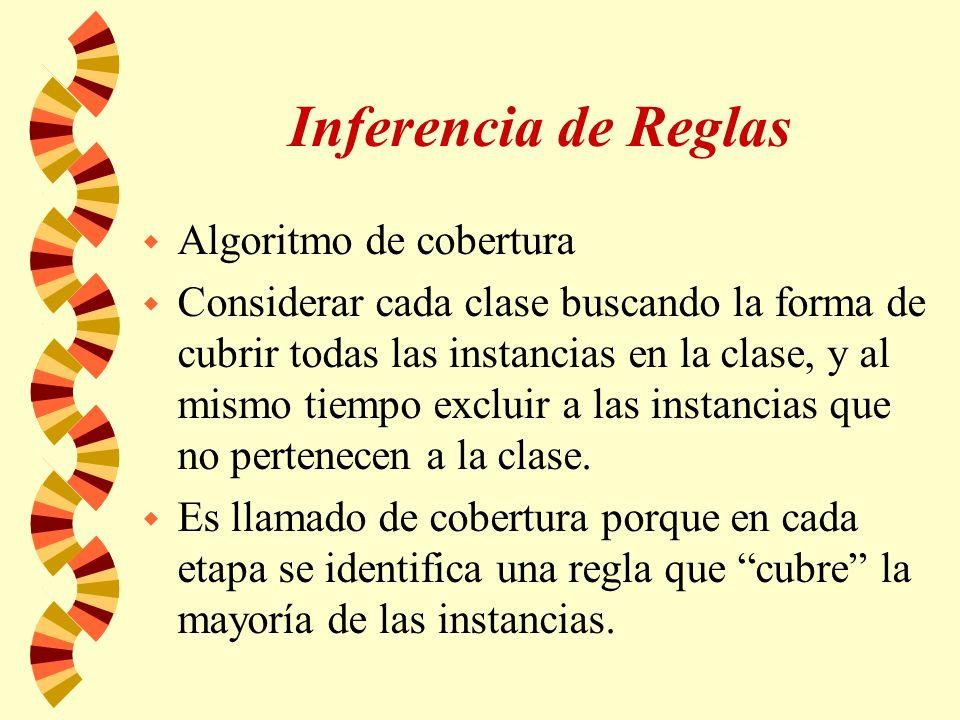 Inferencia de Reglas w Algoritmo de cobertura w Considerar cada clase buscando la forma de cubrir todas las instancias en la clase, y al mismo tiempo excluir a las instancias que no pertenecen a la clase.