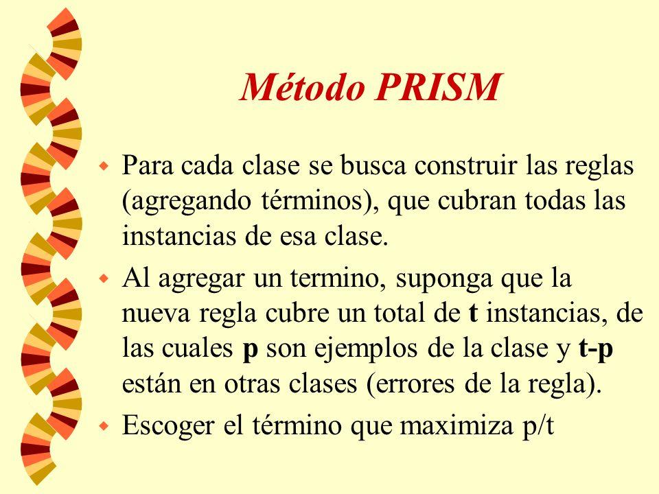 Método PRISM w Para cada clase se busca construir las reglas (agregando términos), que cubran todas las instancias de esa clase.
