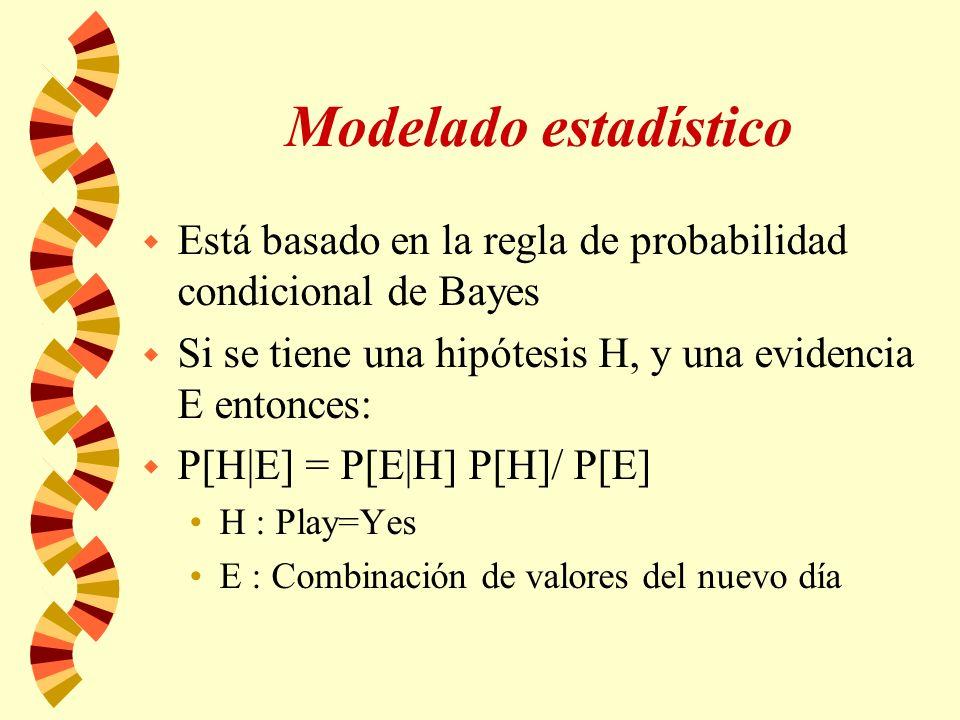 Modelado estadístico w Está basado en la regla de probabilidad condicional de Bayes w Si se tiene una hipótesis H, y una evidencia E entonces: w P[H|E] = P[E|H] P[H]/ P[E] H : Play=Yes E : Combinación de valores del nuevo día