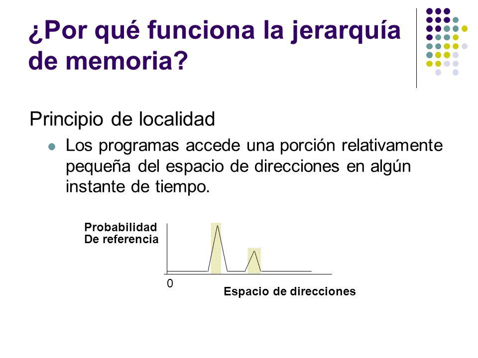 ¿Por qué funciona la jerarquía de memoria? Principio de localidad Los programas accede una porción relativamente pequeña del espacio de direcciones en