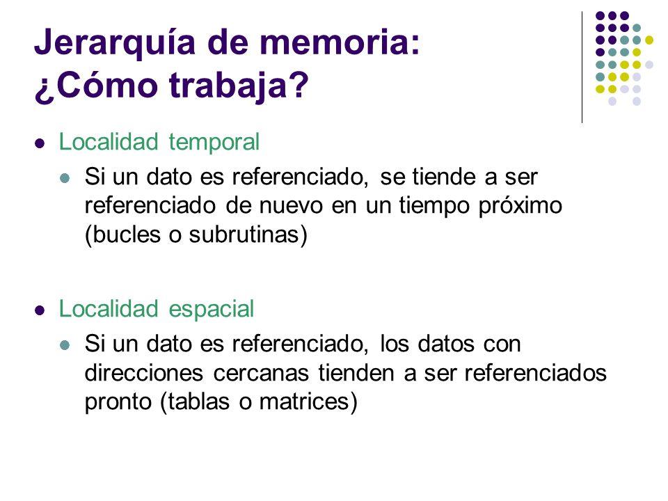 Jerarquía de memoria: ¿Cómo trabaja? Localidad temporal Si un dato es referenciado, se tiende a ser referenciado de nuevo en un tiempo próximo (bucles
