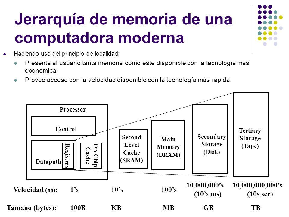 Jerarquía de memoria de una computadora moderna Haciendo uso del principio de localidad: Presenta al usuario tanta memoria como esté disponible con la