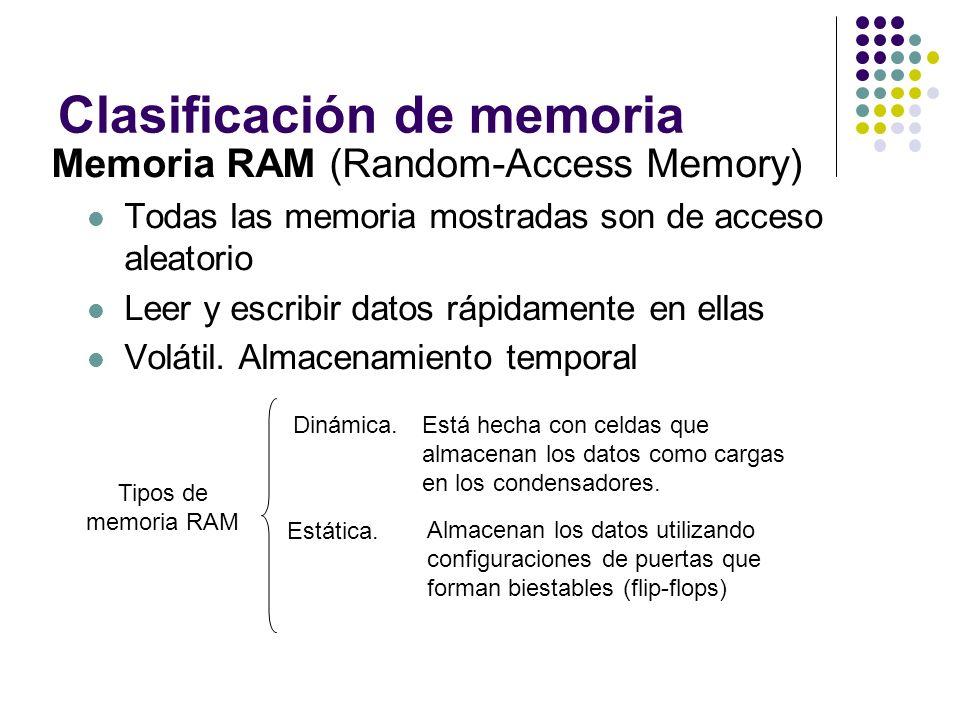 Clasificación de memoria Memoria RAM (Random-Access Memory) Todas las memoria mostradas son de acceso aleatorio Leer y escribir datos rápidamente en e