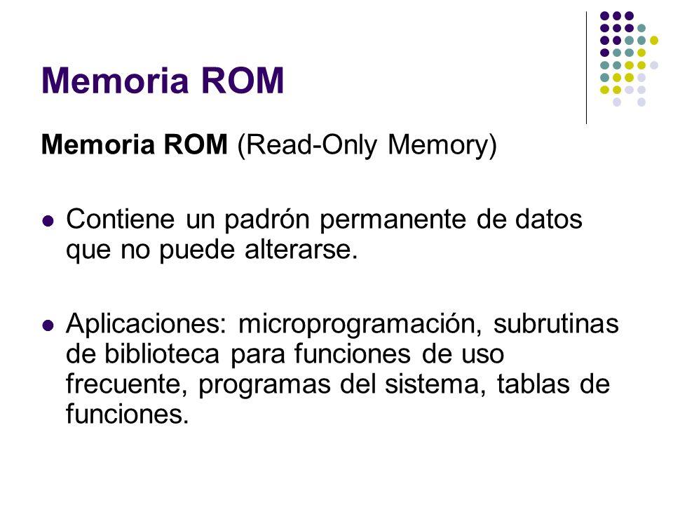 Memoria ROM Memoria ROM (Read-Only Memory) Contiene un padrón permanente de datos que no puede alterarse. Aplicaciones: microprogramación, subrutinas