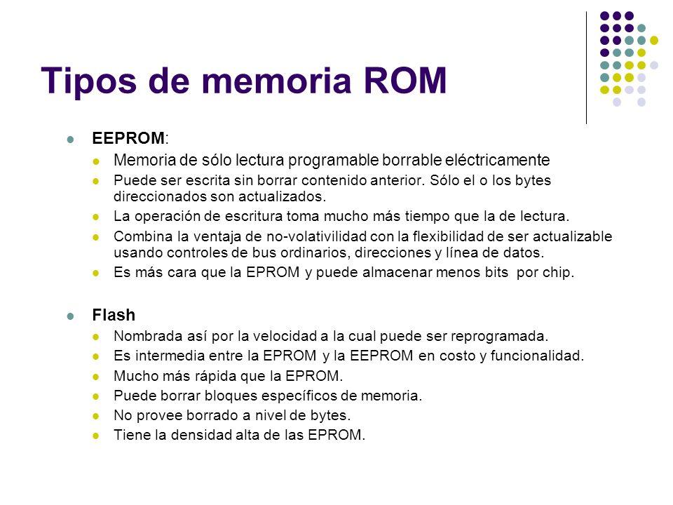 Tipos de memoria ROM EEPROM: Memoria de sólo lectura programable borrable eléctricamente Puede ser escrita sin borrar contenido anterior. Sólo el o lo