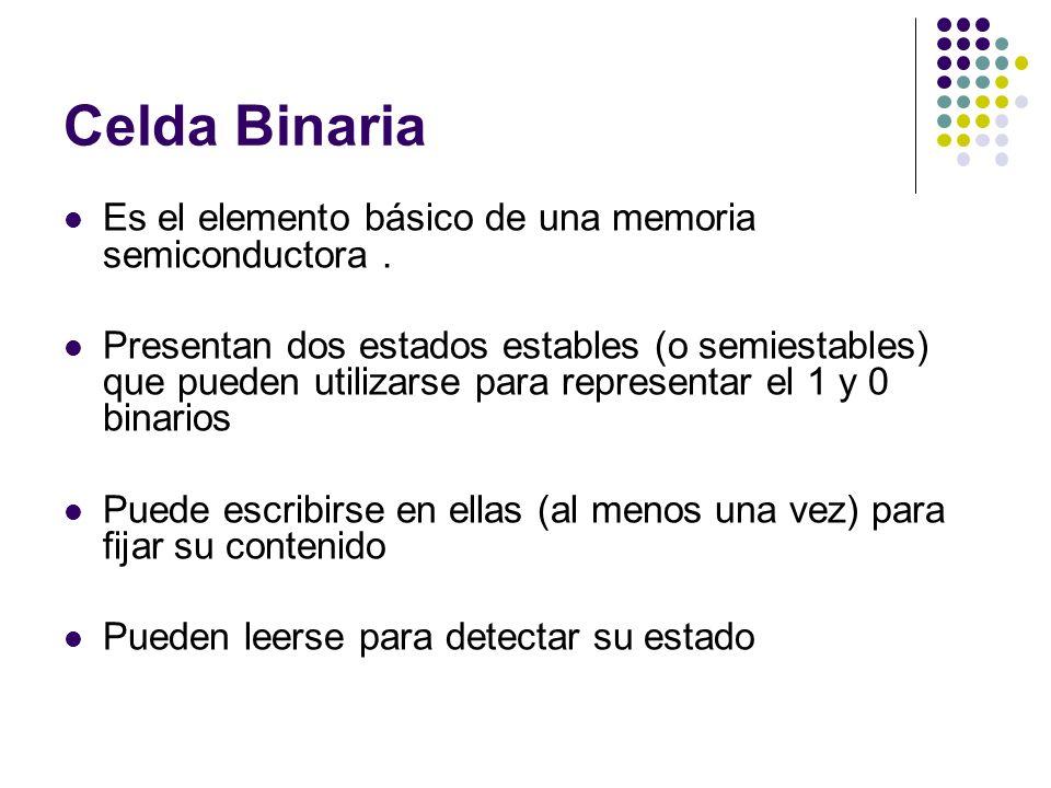 Celda Binaria Es el elemento básico de una memoria semiconductora. Presentan dos estados estables (o semiestables) que pueden utilizarse para represen