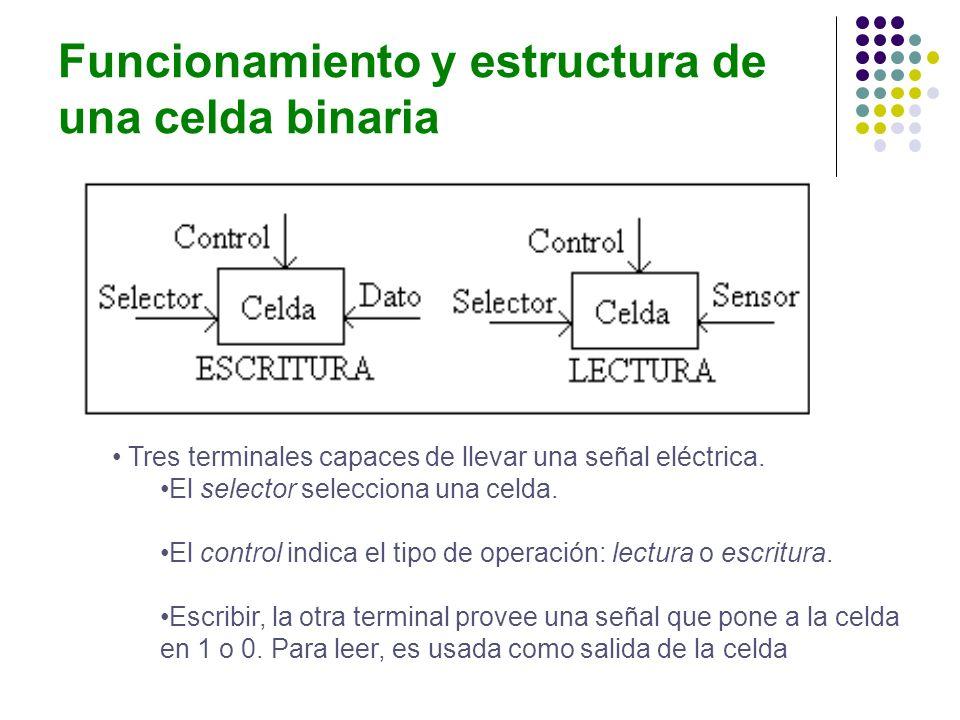 Funcionamiento y estructura de una celda binaria Tres terminales capaces de llevar una señal eléctrica. El selector selecciona una celda. El control i